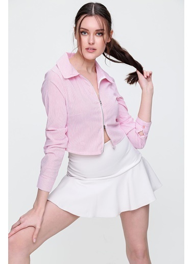 Pink Park Çift Fermuarlı Çizgili Poplin Crop Gömlek SMD-X6135 Pembe